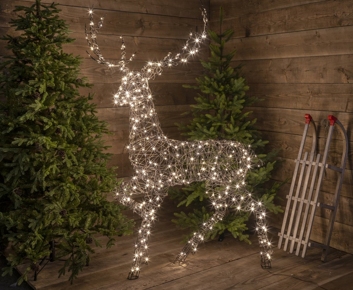 320 Warm White LED Standing Wicker Reindeer 1.9m (High)