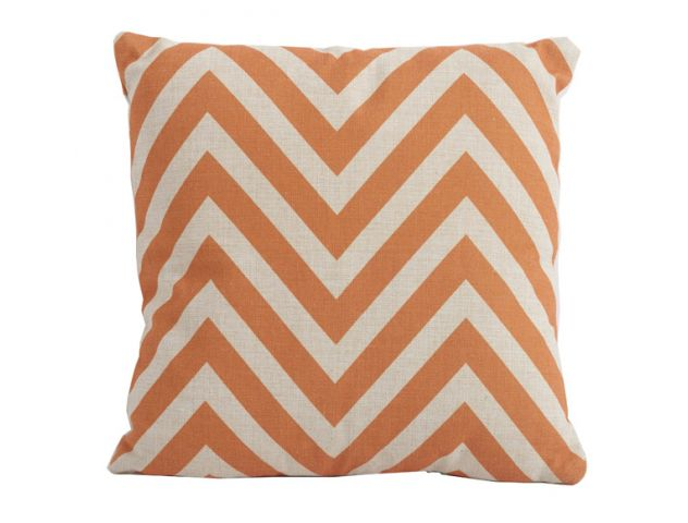 Chevron Orange Square Cushion