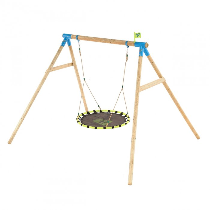 Knightswood Double Wooden Swing Set with Giant Nest Swing - image 4