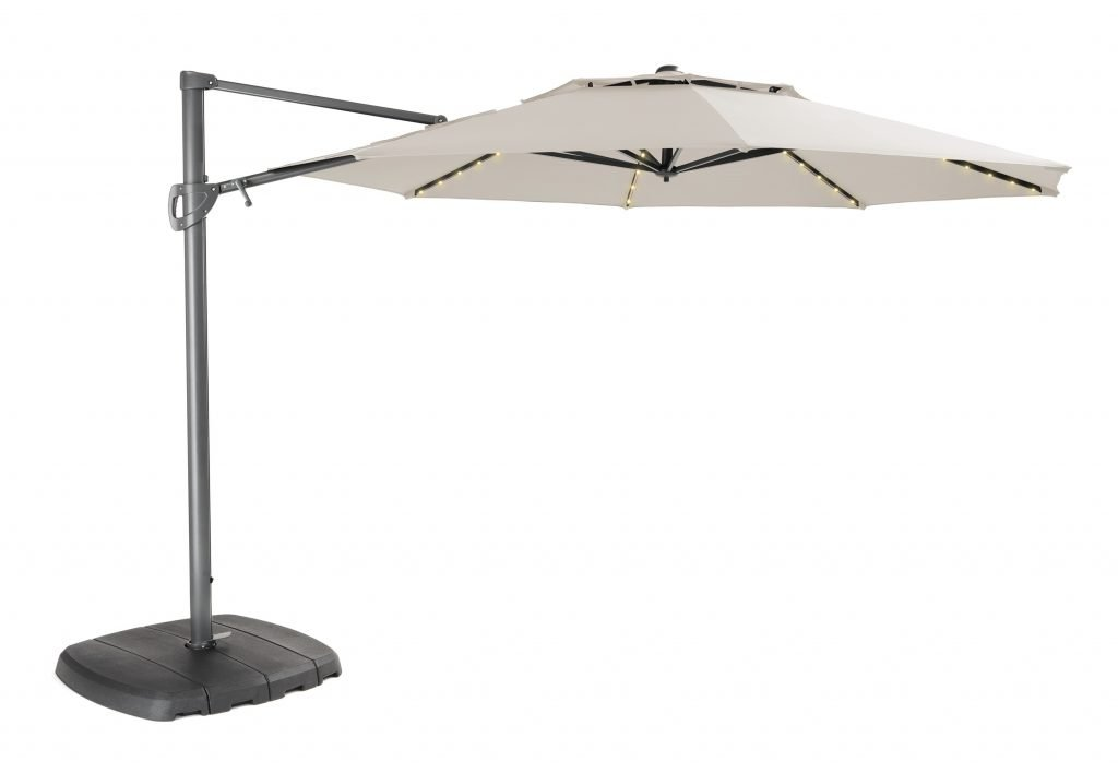 Parasol 3.3m Free Arm Grey Frame/Natural Canopy with LED Lights & Bluetooth Speaker