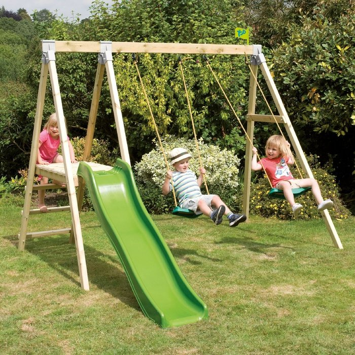 Tp Forest Multiplay Wooden Swing Set and Slide - image 1